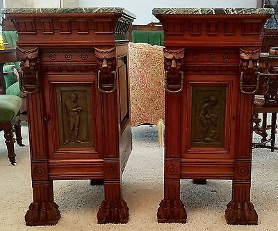 Antique Continental Pair of Cabinets Carved Gargoyles, Lion Feet, Green Marble