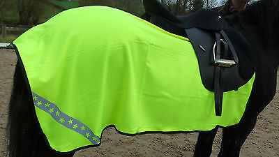 New Horse Hi Vis Reflective Exercise Sheet Safety Pony Cob Full Star Print Flowe