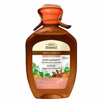 Green Pharmacy BATH OIL - Tangerine, Cinnamon Relieves Stress. Herbal Care 250ml