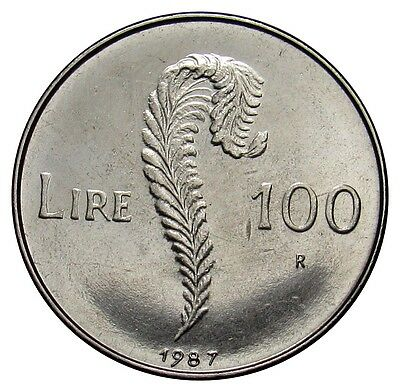 San Marino 100 Lire coin 1987 KM#207 Resumption of Coinage UNC VE01 (a2)