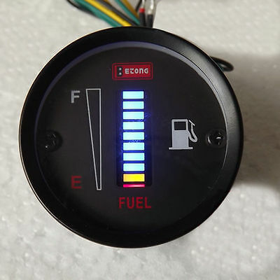 "LED Fuel Level Gauge, 12V DC Fuel Indicator for Car, Motorcycle etc. 52mm (2"")"