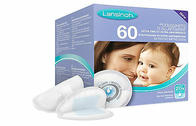Lansinoh Pack of 60 Disposable Nursing Breast Pads Super Absorbent Ultra Thin