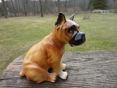 Dog Figurine BOXER Sitting Fawn/Red Black Face Porcelain