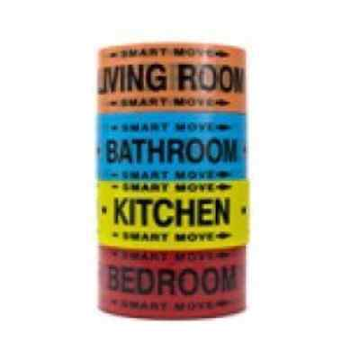 1 Bedroom Labeling Tape, Living Room, Bedroom, Bathroom and Kitchen Color Coded