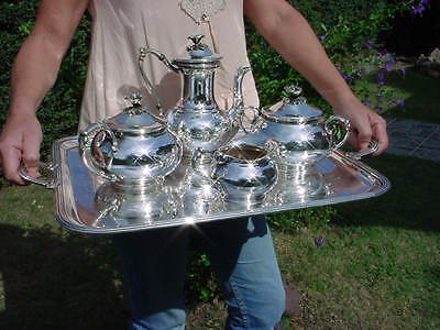 FINE ART NOUVEAU French Silverplate CHRISTOFLE Tea Set 5 pcs.