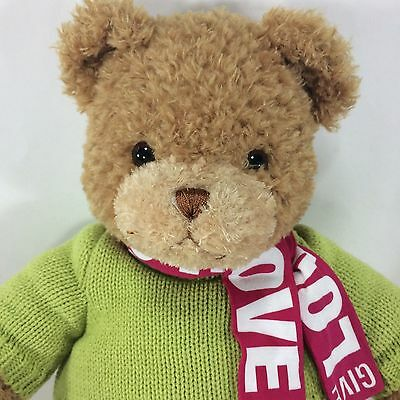 GUND Bloomindales Little Brown Bear LTD Ed 2009 Give Love Scarf Green Sweater