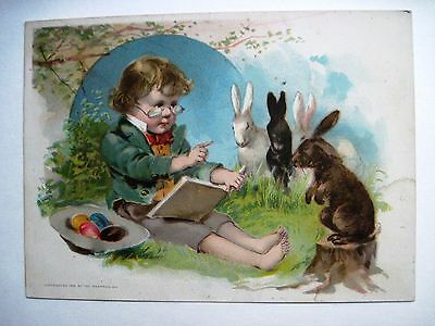 "1893 Easter Victorian Trade Card for ""Lion Coffee"" w/Bunnies & Colored Eggs*"