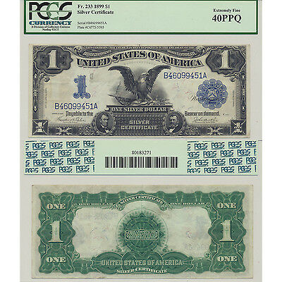 1899 $1 Black Eagle Fr#233 Silver Certificate PCGS Currency XF 40 PPQ Large Size