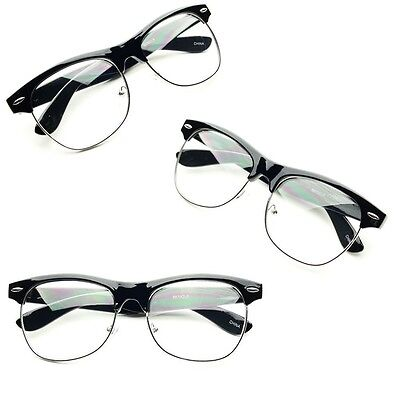 Vintage Half Frame CLEAR LENS GLASSES Black Silver Color Vintage  Retro Fashion