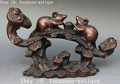 Bronze Wealth Yuanbao Money Blessing Coins Mouse Mice Rat Ruyi Ru Yi Statue