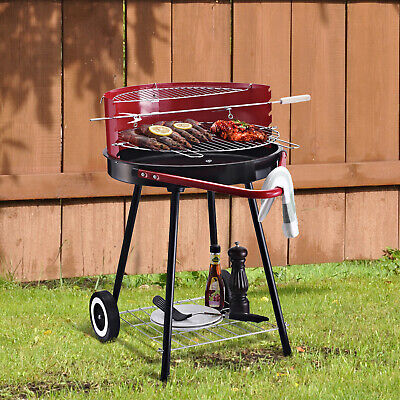 Outsunny Garden Outdoor Charcoal Trolley Round BBQ Barbecue Cooking Grill Wheel