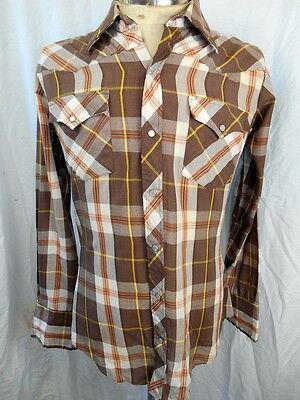 Vintage 70s Brown Poly/Cotton Youngbloods Western Cowboy Shirt Pearl Snaps M