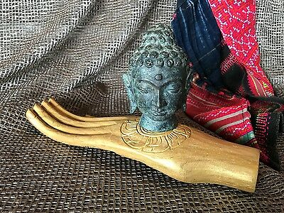 Old Balinese Bronze or Brass Buddha in Carved Wooden Hand …beautiful accent...