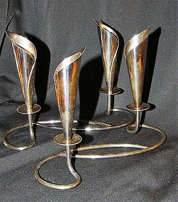 Danish Candle Double Holder Pair Silver Plate Hans Jensen Calla Lily  Denmark