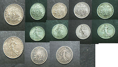 France lot 6 coins, 1898, 1912, 1916,1917, 50 Centimes