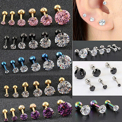 2Pcs CZ 3 Prong Tragus Piercing Earring Stud Ear Ring Stainless Steel Natural