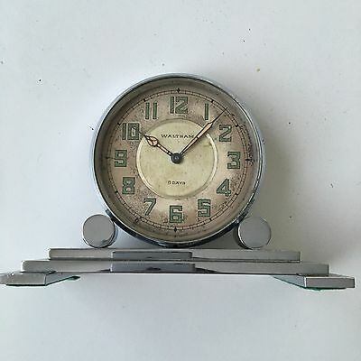 RARE Waltham 8 Days Silver Rotating Desk Clock