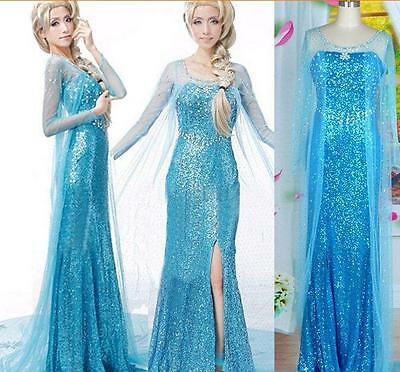 New Fashion Women Adult Frozen Elsa Princess Queen Cosplay Party fancy Dress
