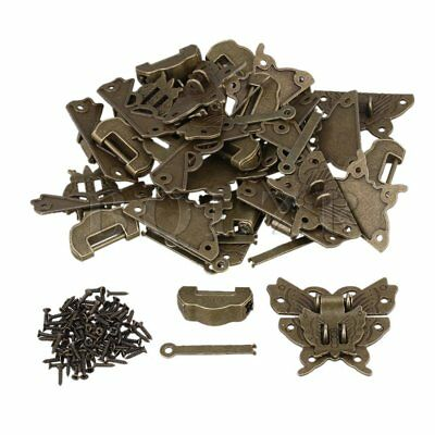 Antique Jewelry Box Buckle Butterfly Padlock Hasp With Lock Key Set of 10 Bronze