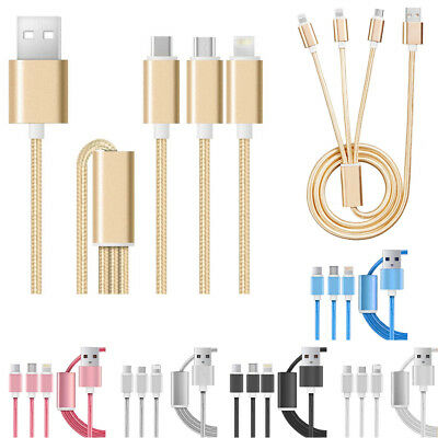 3in1 BRAIDED Multi USB Type-C Charger Charging Cable for iPhone 5 6s Samsung LG