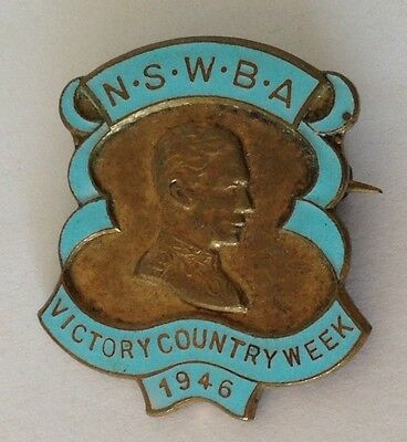 WW2 Victory 1946 Country Week Royal NSW Bowling Club Badge Rare Vintage (M4)