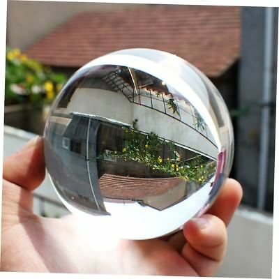 80mm Clear Round Glass Artificial Crystal Healing Ball Sphere Decoration GO