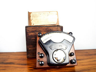 Antique Weston Direct Current Voltmeter with Wooden Case Vintage Laboratory