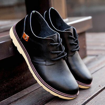 Fashion Men's Casual Leather Smart Formal Lace Up Shoes Work Office Party Shoes