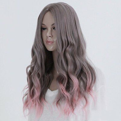 AU Full Long Curly Hair Style Wigs Cosplay Party Costume Wigs Gray And Pink  ID