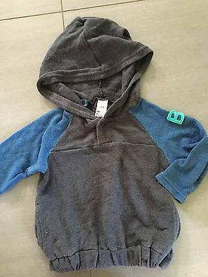 Size 0 ~ BONDS ~ Charcoal / Blue Knit Hooded Pullover / Jumper ~ EUC!