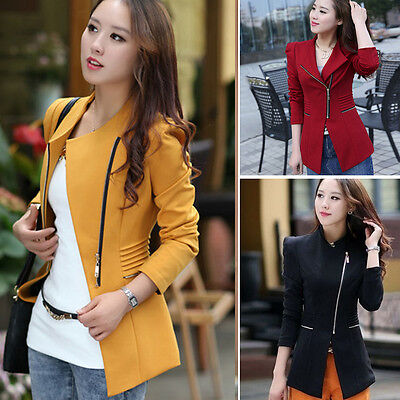 Women Zipper OL Long Sleeve Slim Casual Suits Blazer Jacket Coat Tops Outwear