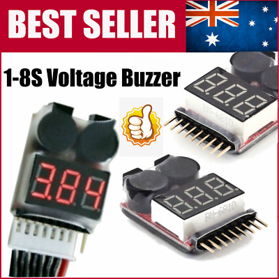 AU 8S 2in1 RC Li-ion Lipo Battery Low Voltage Meter Tester Buzzer Alarm ID
