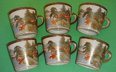 Six Antique Japanese Meiji Period Signed Satsuma Tea Cups Set Perfect Condition