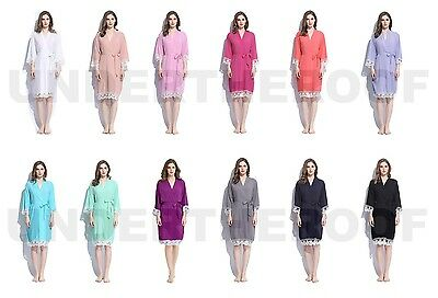 Ladies Rayon Cotton Lace Robes Bridal Wedding Bridesmaid Bride Gown Hens Robe