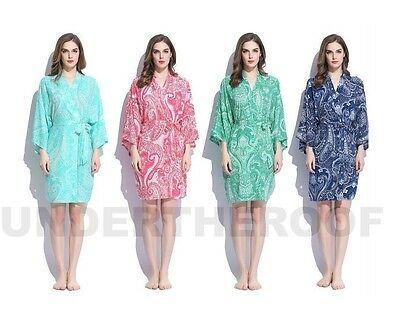 Floral Paisley Henna Rayon Cotton Robe Wedding Bridesmaid Bride Gown Robes