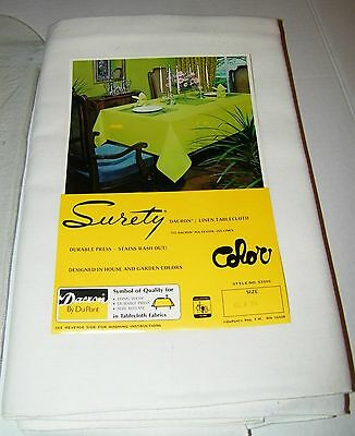"Vtg Surely Linen Tablecloth Heavy Off White Lined  52"" x 70"" Oblong Dacron NIP"