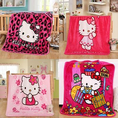 Hello Kitty Cartoon Smooth Flannel Blankets Kids Throws Baby Smooth Mats/Rugs