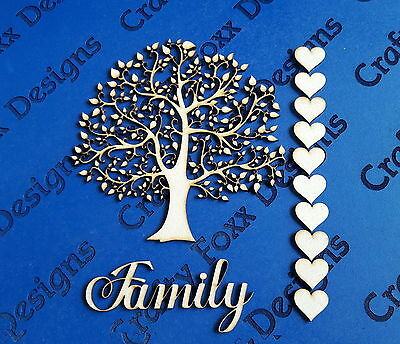 Wooden MDF Tree Shape  Family Tree Wedding,Guestbook Craft blank free hearts S1