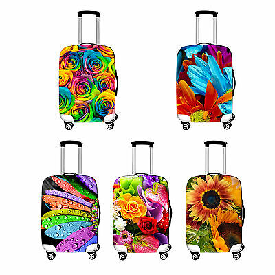L Elastic Travel Luggage Suitcase Spandex Flower Cover Protector For 26''~ 28""