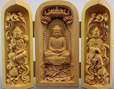 Three wooden Buddha open box ornaments boutique Sam West decorations