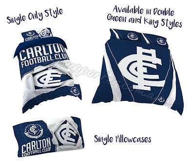 Carlton Blues 2017 AFL Quilt Cover Set Doona Single Double Queen King Pillowcase