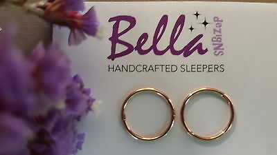 1 x pair 14mm 14K Rose Gold Plated Solid Sterling Silver Plain Sleeper Earrings