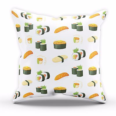 Sushi Japan Tokyo All Over Fish Food Cushion Pillow Gift Bake Foodie Kitchen 532