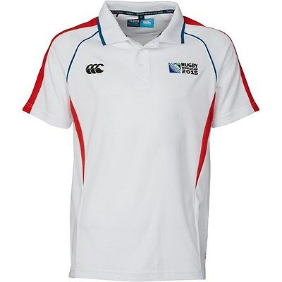 CANTERBURY RUGBY 2015 WORLD CUP Mens Winger Polo Shirt White Size XX/L