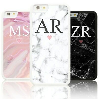 Personalised Silicone Marble LARGE INITIALS Case Cover for Apple IPHONE initial