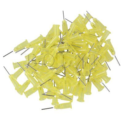 "100 Piece Dispensing Blunt Needle Tip 1/2"""" Yellow 20Ga For Industrial Use"