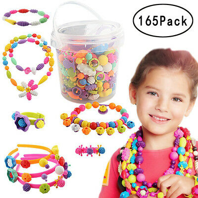 165Pack/set Pop-Snap Beads Kids Toy DIY Jewelry Making Kit Necklace and Bracelet