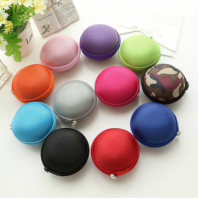 Mini Round Hard EVA Storage Case Bag for SD TF Cards Earbuds Earphone Headphone