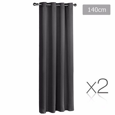 TWO PANELS 140 x 230cm Grey Blockout Curtains Eyelet 3 Pass Blackout Room 250GSM