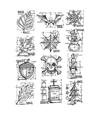 Stampers Anonymous Tim Holtz stamp set - Mini Blueprints